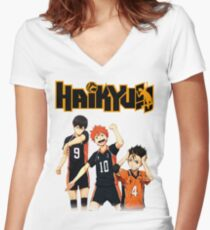 Haikyuu - Tobio, Hinata and Nishinoya Women's Fitted V-Neck T-Shirt