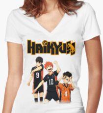 Haikyuu - Tobio, Hinata and Nishinoya Women's Fitted V-Neck T-Shirt