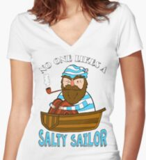 No One Likes A Salty Sailor Women's Fitted V-Neck T-Shirt