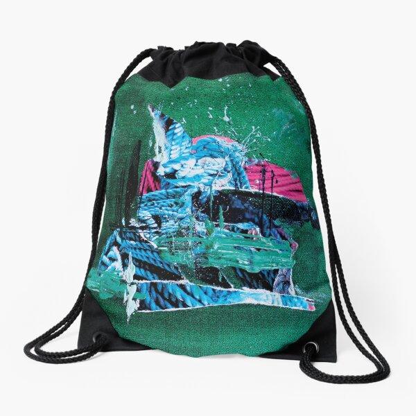 Sail on the green ocean Drawstring Bag