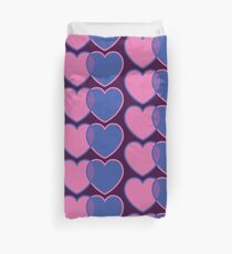 Bisexual Cross Over Pink and Blue Love Hearts Duvet Cover
