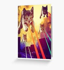 Cats With Laser Eyes Greeting Card