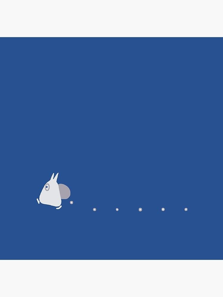 Small White Totoro Dropping Acorns - Two Colour by joshdbb