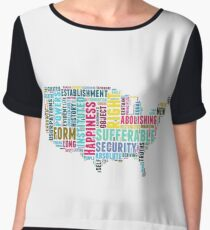 United States Map Declaration of Independence Typography Chiffon Top