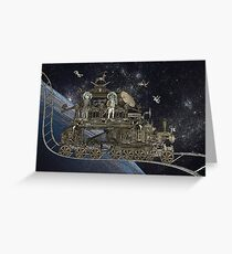 Space Cat Train Greeting Card