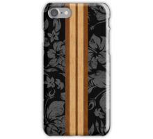 Sunset Beach Hawaiian Faux Koa Wood Surfboard - Black and Gray iPhone Case/Skin
