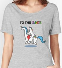 To The Rave! (Unicorn Riding Dinocorn) Women's Relaxed Fit T-Shirt