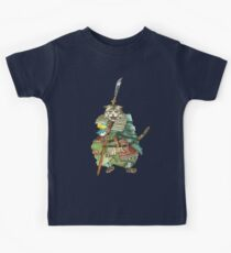 A Halfing Samurai Cat with a Spear and 2 Swords Kids Tee