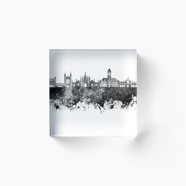 Cambridge skyline in black watercolor background Acrylic Block