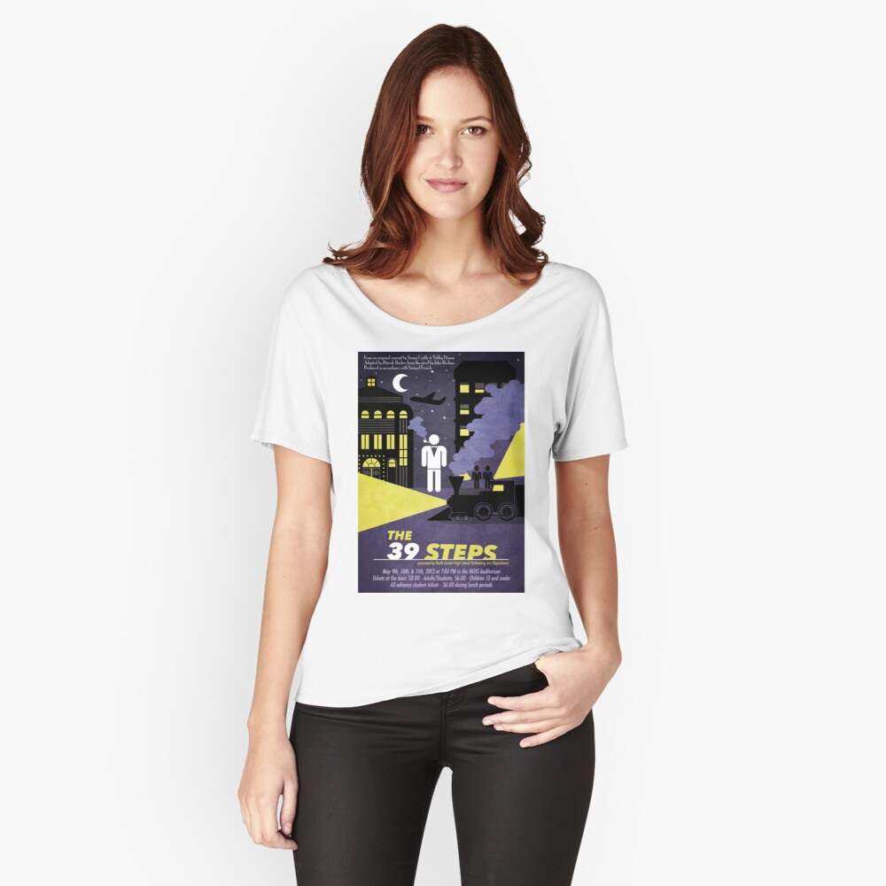 North Central Theatre presents THE 39 STEPS by Simon Corble & Nobby Dimon Women's Relaxed Fit T-Shirt Front