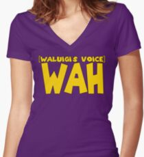 Wah (Waluigi's Voice) Women's Fitted V-Neck T-Shirt