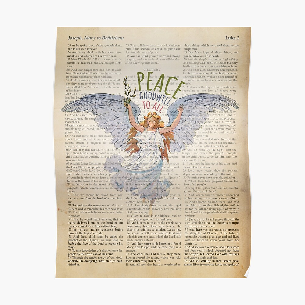 Bible Christmas Story.Angel Of Peace Bible Christmas Story Luke 2 Poster