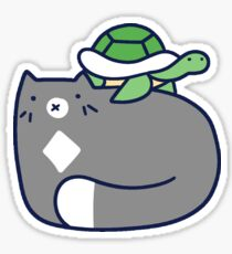 Blue Cat and Tiny Turtle Sticker