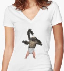 Puppy Monkey Baby Women's Fitted V-Neck T-Shirt