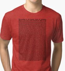 bee movie script ( you can read it) Tri-blend T-Shirt