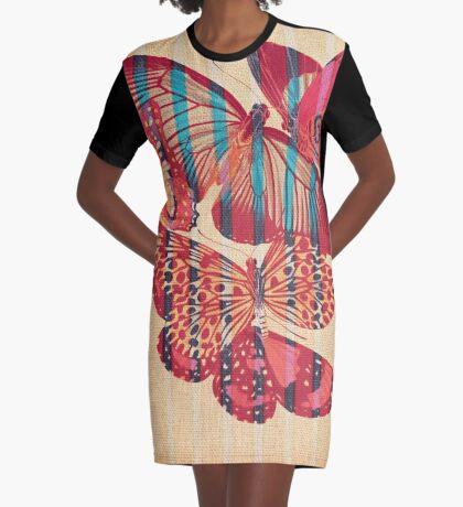 Butterflies in Strips Graphic T-Shirt Dress