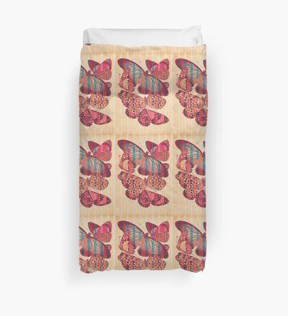 Butterflies in Strips Duvet Cover