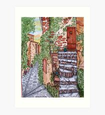 Ancient Crumbling Stone Steps Art Print