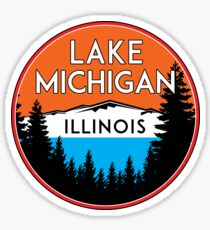 LAKE MICHIGAN BOATING FISHING ILLINOIS INDIANA WISCONSIN VINTAGE TRAVEL GREAT LAKES Sticker