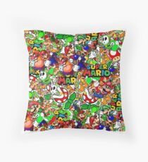 Super Mario Collage Throw Pillow