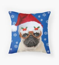 Pug dog wearing Christmas hat and glasses Throw Pillow