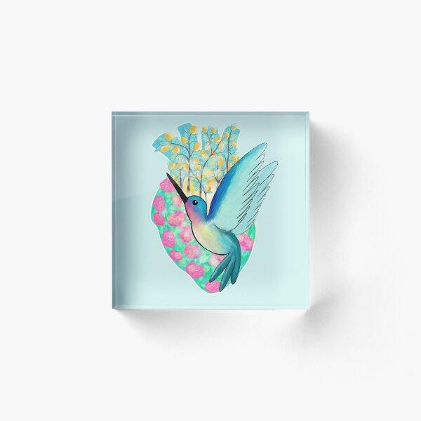 Hummingbird Heart Acrylic Block