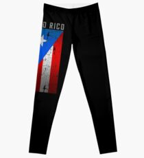 Flag of Puerto Rico - Old Printing Style Leggings