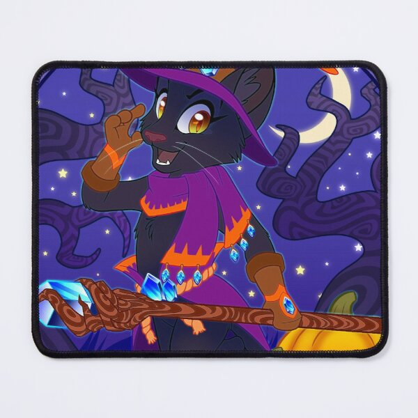 Black Cat Witch Mouse Pad