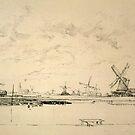 Vintage Sketch of Windmills by Vintage Works