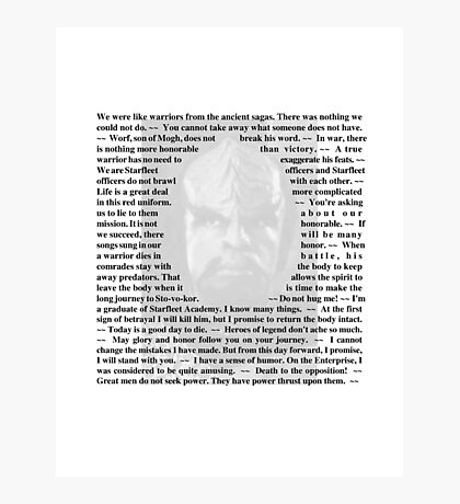 Star Trek Deep Space Nine - Quotes of Worf Photographic Print