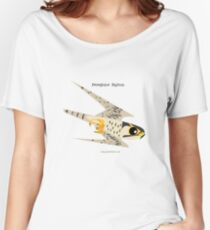 Peregrine Falcon diving caricature Women's Relaxed Fit T-Shirt