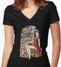 Tower of Terror Pinup Women's Fitted V-Neck T-Shirt