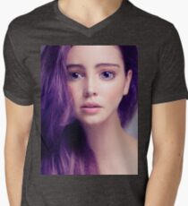 Young woman anime style beauty portrait with large eyes and purple hair art photo print T-Shirt