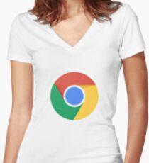 Google Chrome new icon Women's Fitted V-Neck T-Shirt