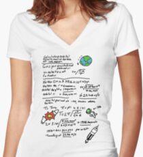 Kerbal Orbit Science 1 Women's Fitted V-Neck T-Shirt