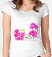 Japanese White Eye Birds Women's Fitted Scoop T-Shirt