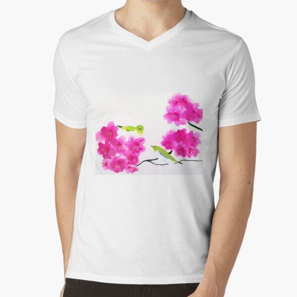 Japanese White Eye Birds V-Neck T-Shirt