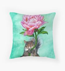 Squirrel Presenting Peony Throw Pillow