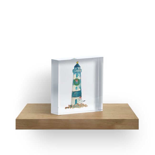 Christmas Watercolor Lighthouse by emrdesigns