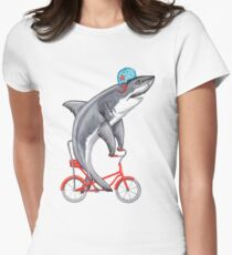 Cycling Shark  Womens Fitted T-Shirt