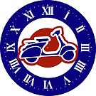 Cool red white and blue scooter designer clock by Auslandesign