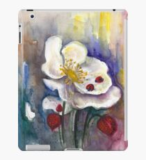 Strawberry - White Flowers - Original Watercolor Painting iPad Case/Skin