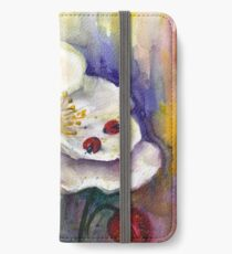 Strawberry - White Flowers - Original Watercolor Painting iPhone Wallet/Case/Skin