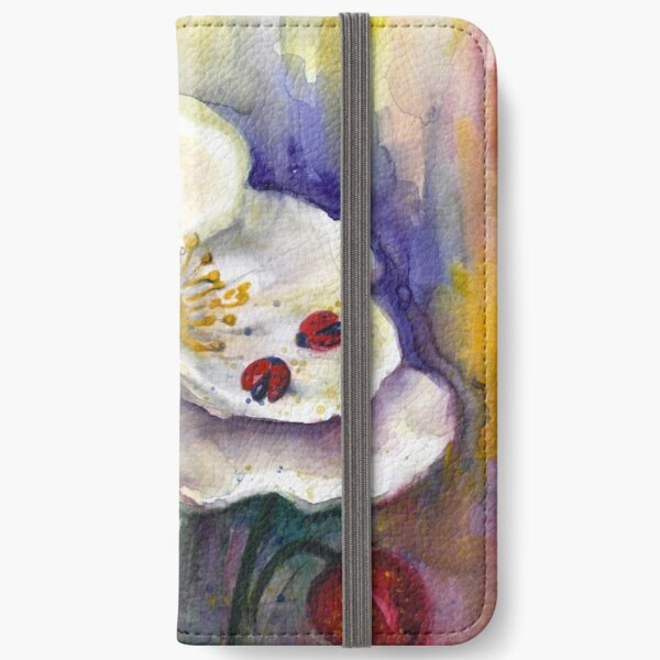 Strawberry - White Flowers - Original Watercolor Painting iPhone Wallet