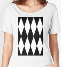 BLACK AND WHITE |  HARLEQUIN DESIGN Women's Relaxed Fit T-Shirt