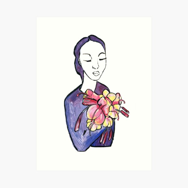 Dame mit Blumen - Lady with flowers Kunstdruck