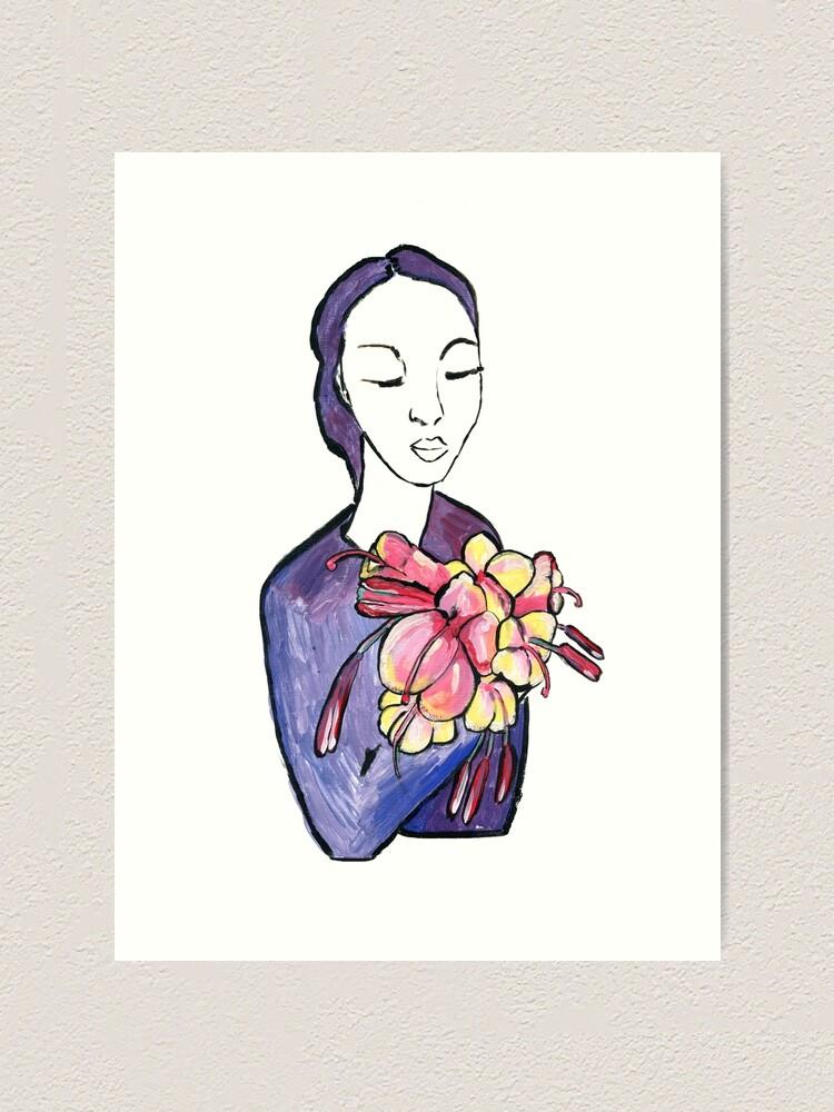 Alternative Ansicht von Dame mit Blumen - Lady with flowers Kunstdruck