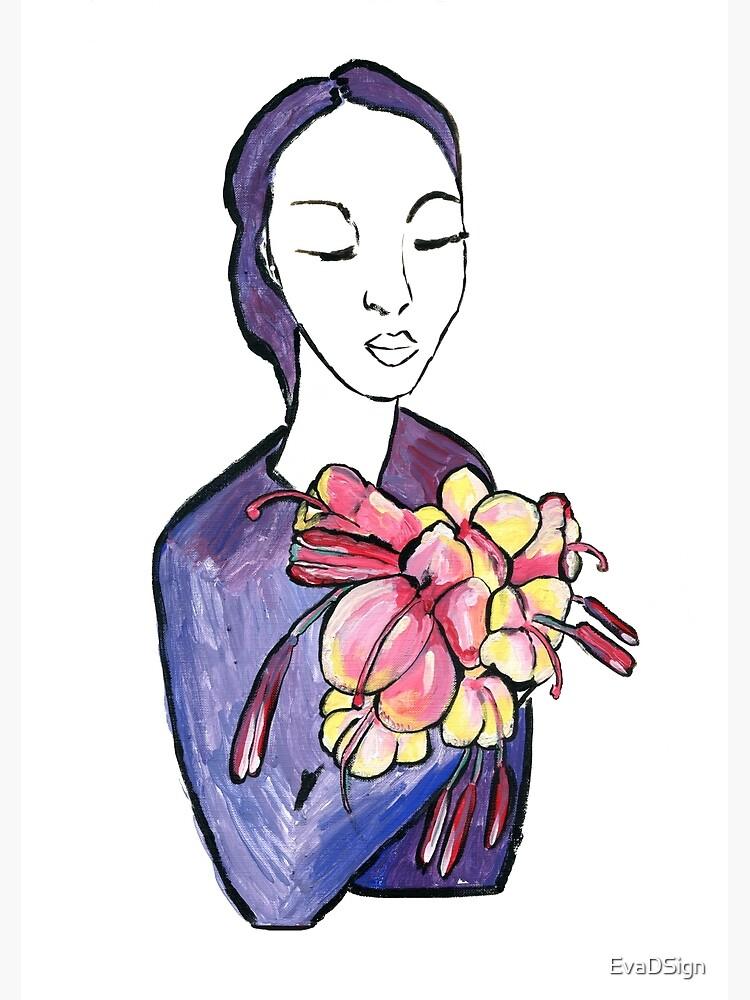 Dame mit Blumen - Lady with flowers von EvaDSign