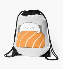 sleepy sushi bed Drawstring Bag