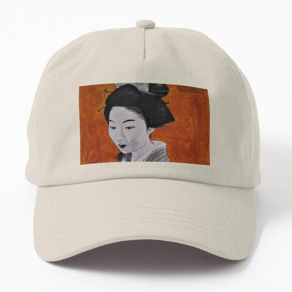 Geisha with Black Comb Hair on Orange & Map background Dad Hat